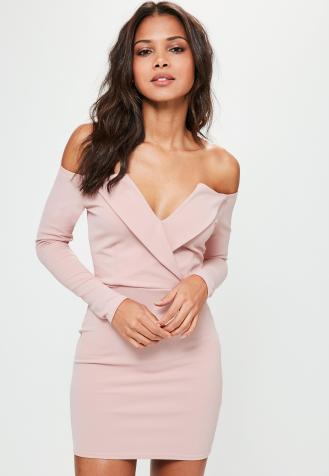 pink-bardot-foldover-wrap-dress