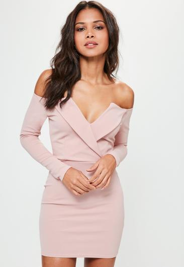 pink-bardot-foldover-wrap-dress