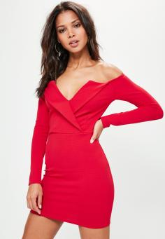red-bardot-foldover-wrap-dress