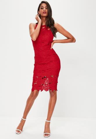 red-crochet-lace-midi-dress