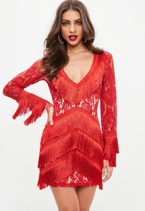 red-lace-tassel-detail-long-sleeve-dress